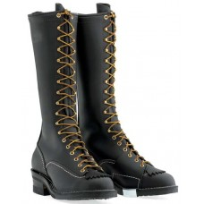 "Wesco 16"" Black Leather Highliner Boots 9716"