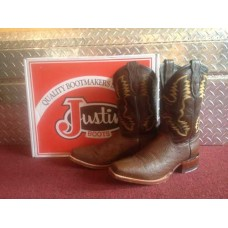 9.5 D Justin 11' Inch Brown Ostrich Western Boots 5503