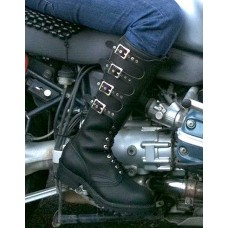 "Wesco StompMaster Black Leather 18"" Buckle Boots"
